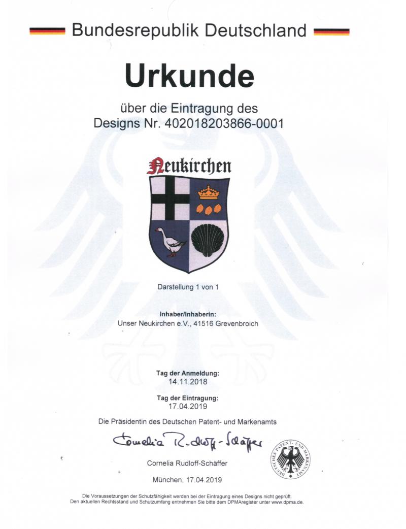 Urkunde über die Eintragung des Designs Nr. 402018203866-0001
